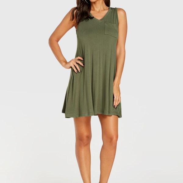 YOINS Army Green V-neck Sleeveless Dress 2