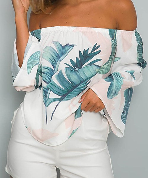 White Off-The-Shoulder Floral Print Flared Sleeved Top with Tie 2