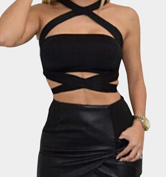 Black Sexy Crop Top with Cutout Details 2