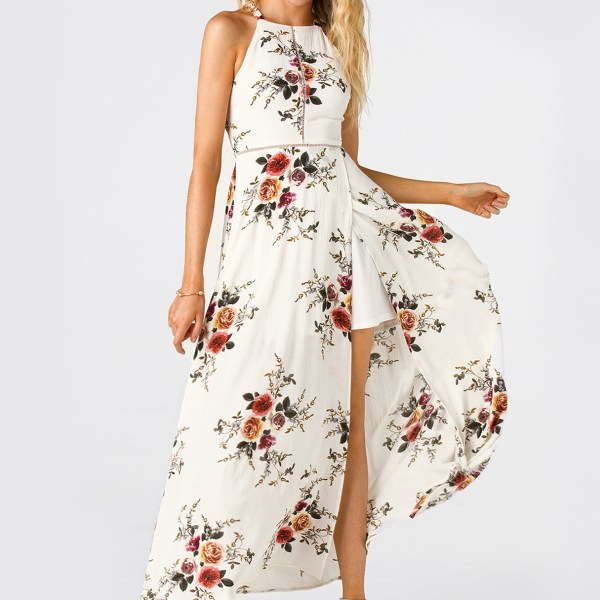 White Side Split Back Lace-up Random Floral Halter Sleeveless Dress 2