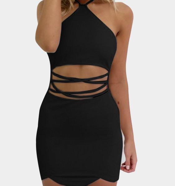 Black Sexy Halter Neck & Cutout Waist Mini Dress 2