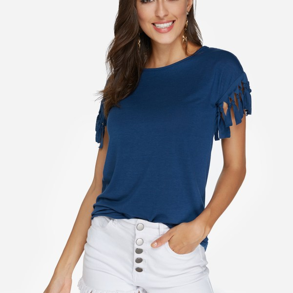 Navy Scoop Neck Tassel Sleeves T-shirt 2