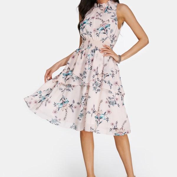 Light Pink Flared Design Vacation Floral Dress 2