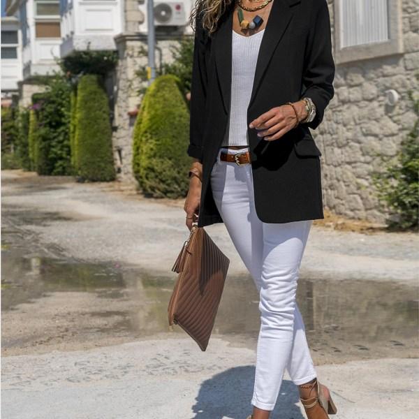 Black Notch Collar Pockets Open Front Blazer 2