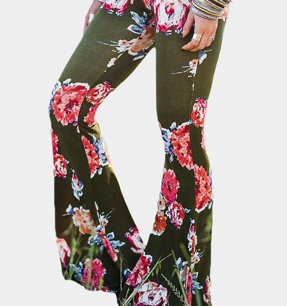 Green Floral Print Flared Long Pants 2