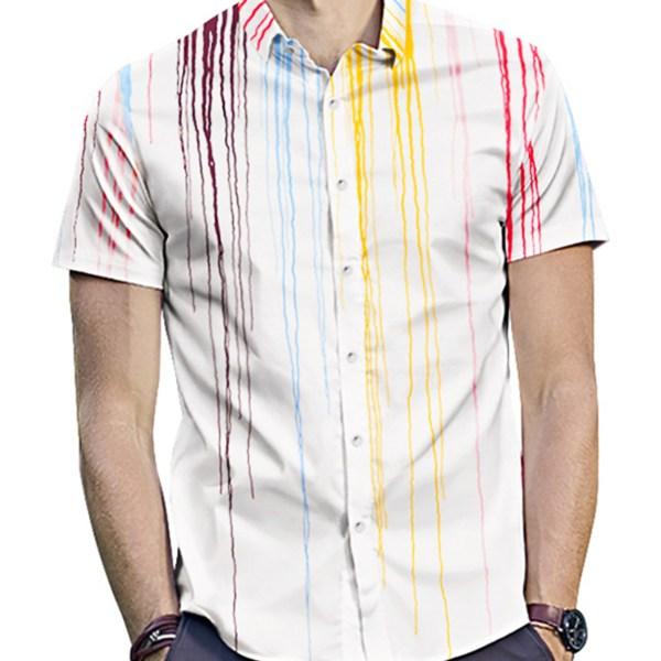 Men Trendy Splash Print Street Style Casual Short Sleeve White Shirt 2