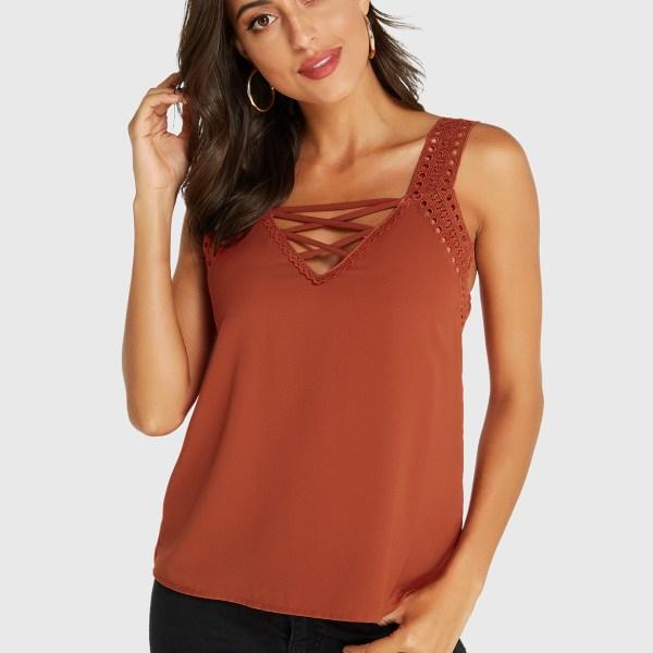 YOINS Orange Lace-up Design V-neck Cami 2