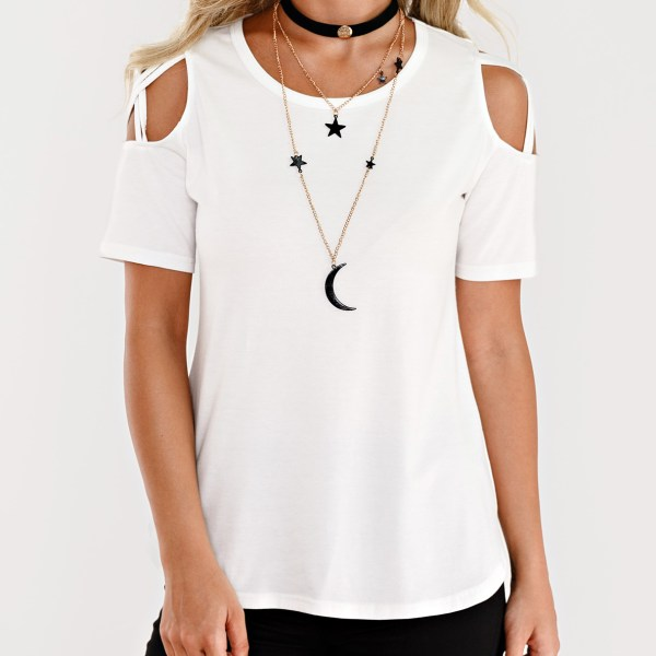 White Cut Out Shoulder Short Sleeves T-shirt 2