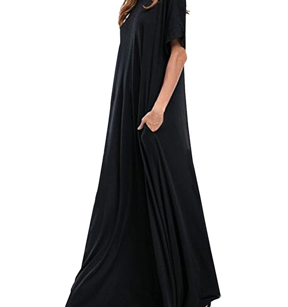 Kidsform Black Pockets Round Neck Short Sleeves Dress 2