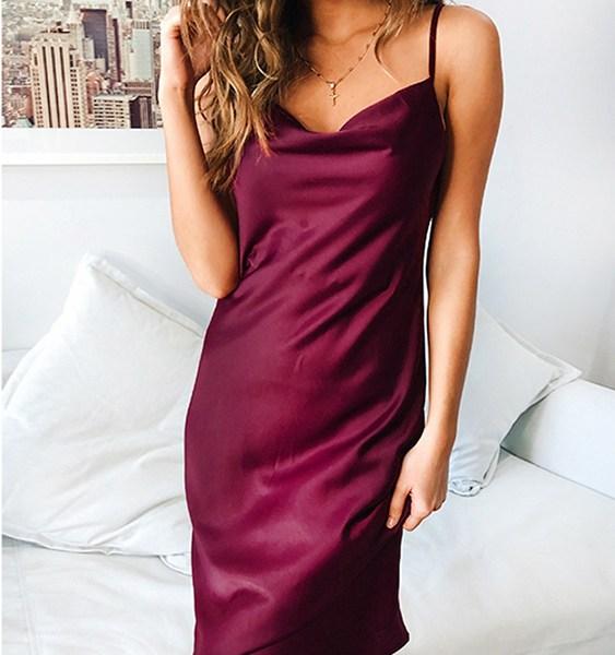 Satin Halter Sleeveless Dress 1