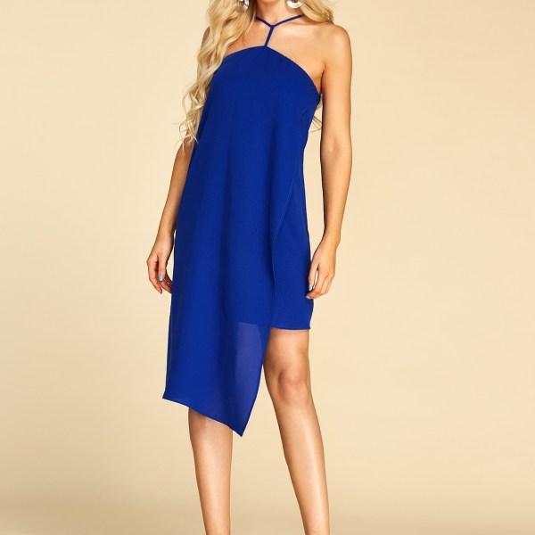 YOINS Royal Blue Adjustable Shoulder Straps Halter Sleeveless Dress 2