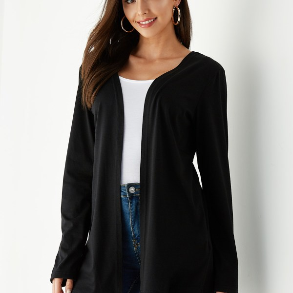 YOINS Black Lace Long Sleeves Open Front Cardigan 2