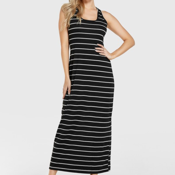 Black Stripe Round Neck Sleeveless Dress 2