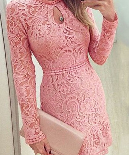 Pink Lace Design Crew Neck Long Sleeves Dress 2