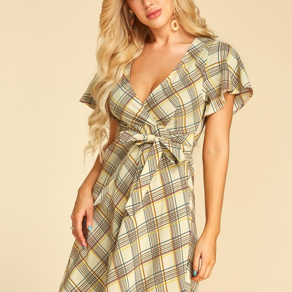 YOINS Apricot Self-tie Design Geometrical Pattern Deep V Neck Dress 2