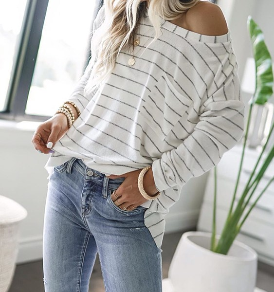 CHRISTMAS SALE White Pocket Design Striped Round neck Long Sleeves Tee 2