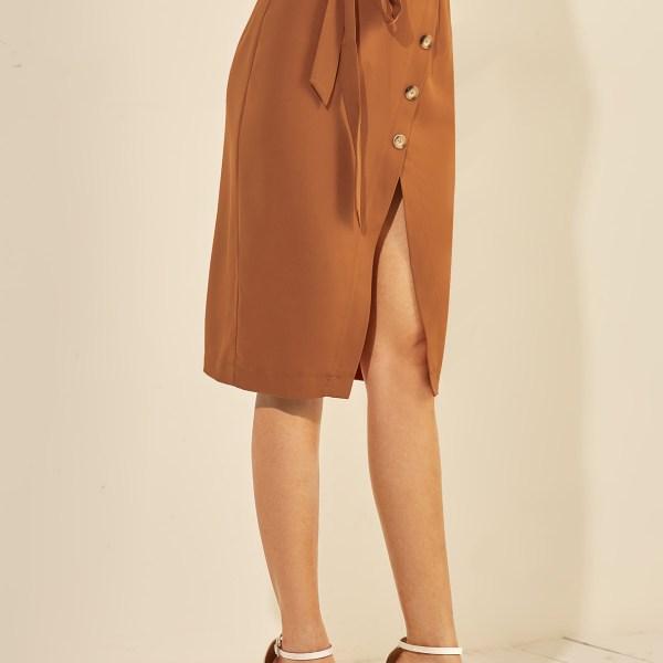 YOINS Brown Button Design Slit Hem Midi Skirt 2