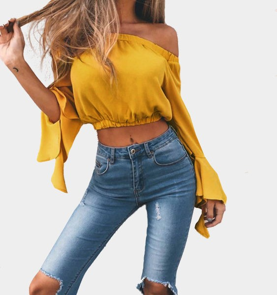 Yellow Off-The-Shoulder Long Flared Sleeves Crop Top 2