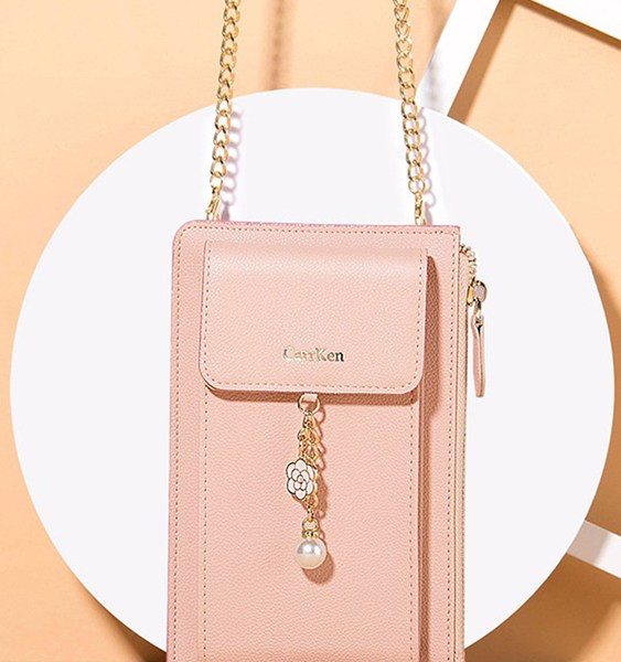 Flower & Pearl Ornaments Wallet Bag with Chain 2