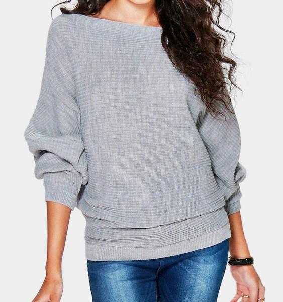 Grey Long Sleeves Loose Jumper 2