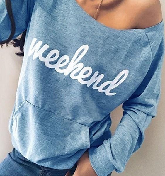 Blue Letter One Shoulder Pocket Design Sweatshirt 2