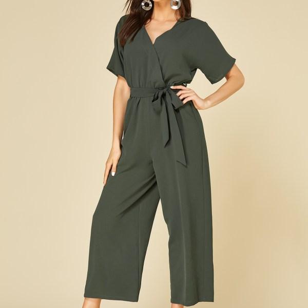 YOINS Army Green Self-tie Design V-neck Short Sleeves Jumpsuit 2