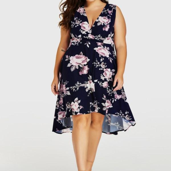 Plus Size Navy Random Floral Print Sleeveless Dress 2