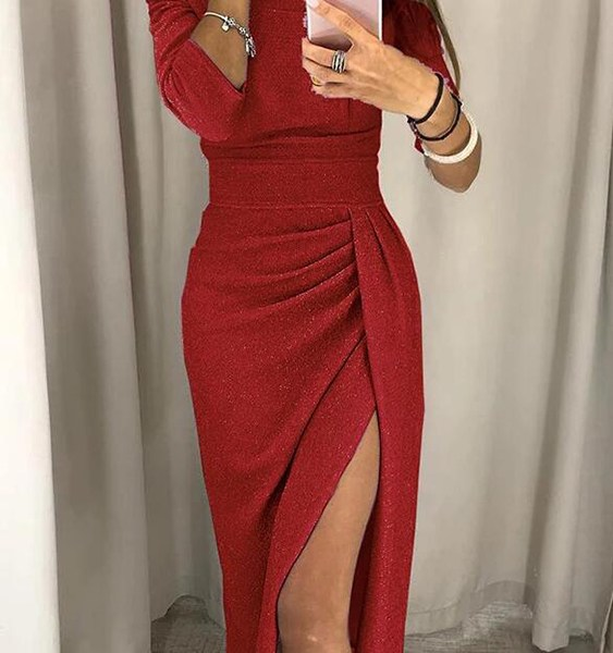 Red Off The Shoulder Half Sleeves Ruched Dress 2