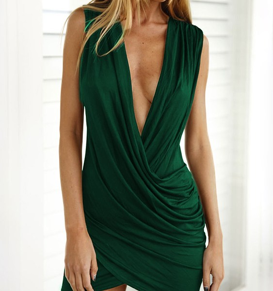 Green Crossed Front Design V-neck Sleeveless Sexy Dress 2