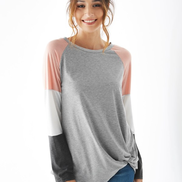 Grey Color Block Round Neck Long Sleeves Tee 2
