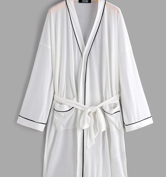 Men Side Stripe Belted Pockets Dressing Gowns 2