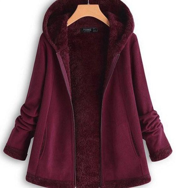 Fleece Zip Front Long Sleeves Hooded Coat 2