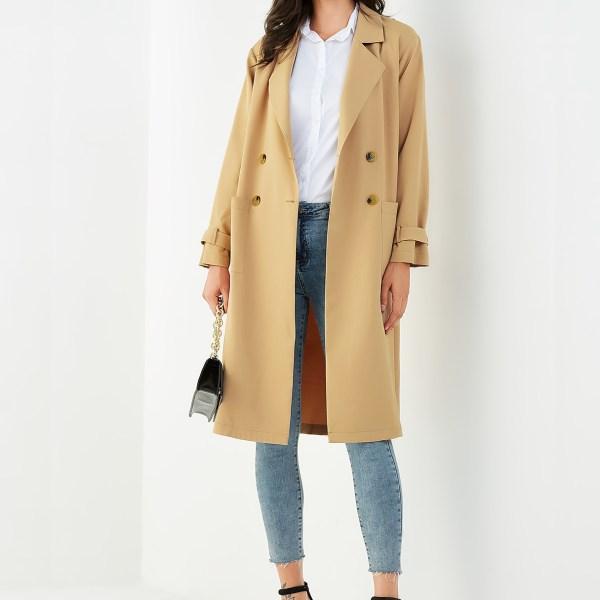 YOINS Khaki Pocket Design Notch Collar Long Sleeves Coat 2