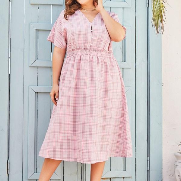 Plus Size Pink Button Design Plaid V-neck Short Sleeves Dress 1