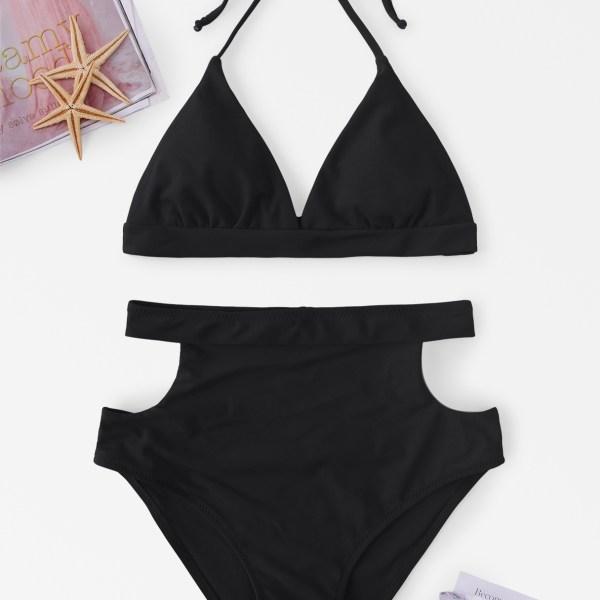 Self-tie Halter Neck Cut Out Design High Waist Bikini Set in Black 2