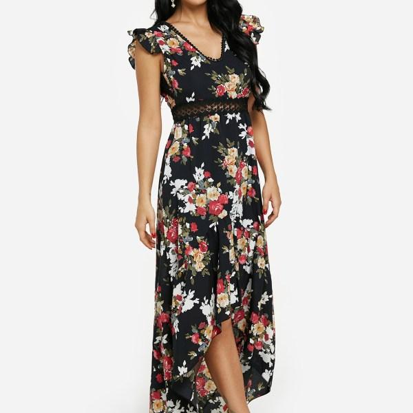 Black Floral Print Crochet Lace Trim Open Back Maxi Dress 2