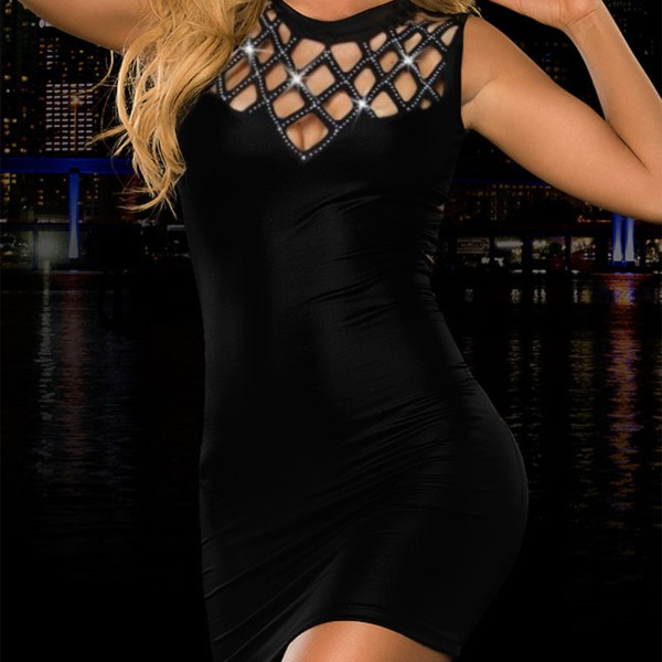 Black Button Keyhole Design Stand Collar Sleeveless Dress 2