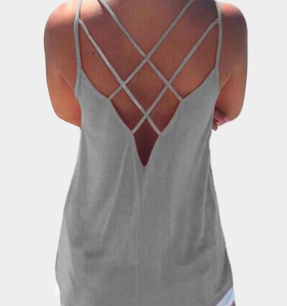 Grey Sleeveless Cross Front Top 2