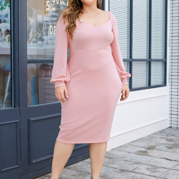 YOINS Plus Size Pink Backless Design Square Neck Long Sleeves Dress 2