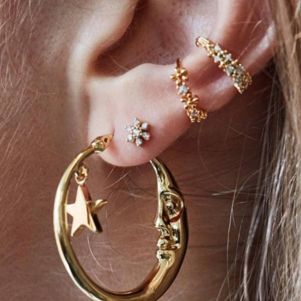 Gold Color C-type Flower Moon Stars Combination Earrings 2