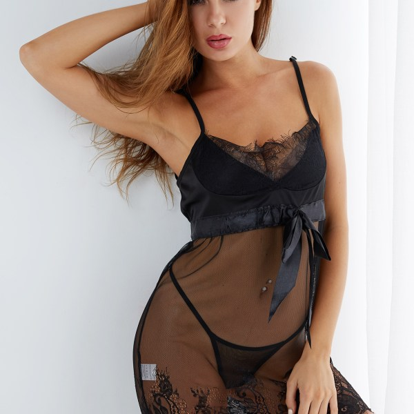 Sexy Deep V-neck Lace Trim Pajamas in Black with T-back 2