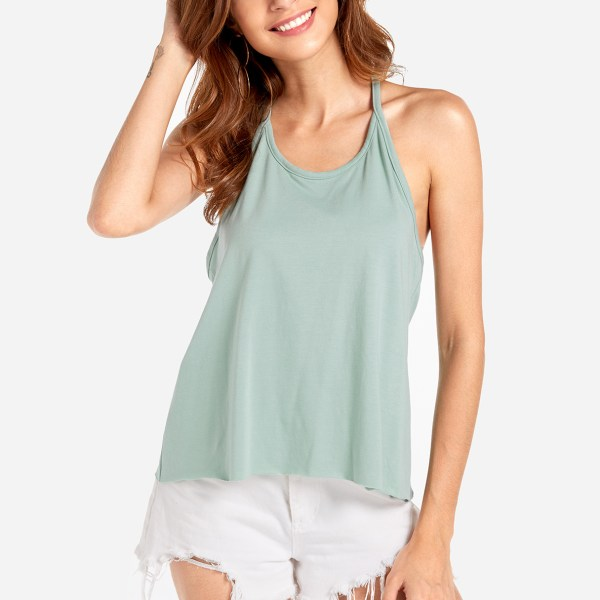 Light Green Scoop neck Sleevesless Backless Cami 2