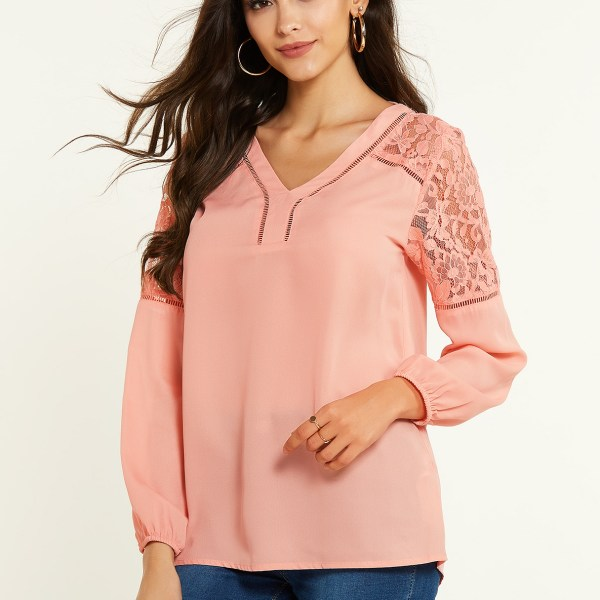 YOINS Pink Lace Insert V-neck Long Sleeves Blouse 2