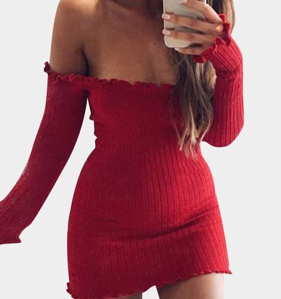 Red Off-The-Shoulder Frill Hem Sweater Knit Dress 2