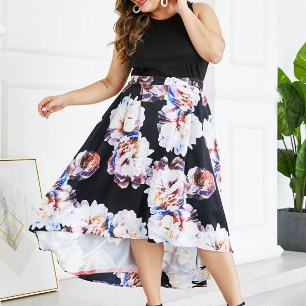 YOINS Plus Size Black Patch Random Floral Print Dress 2