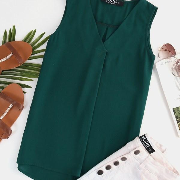 YOINS Green Curved Hem V-neck Sleeveless Top 2