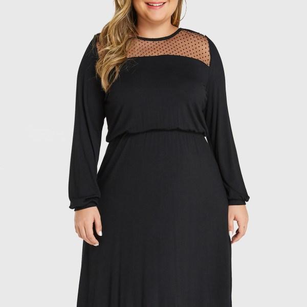 YOINS Plus Size Black Polka Dot Round Neck Long Sleeves Dress 2
