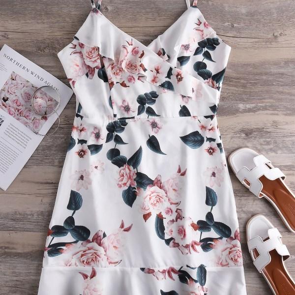White Adjustable Shoulder Straps Floral Print V-neck Dress 2