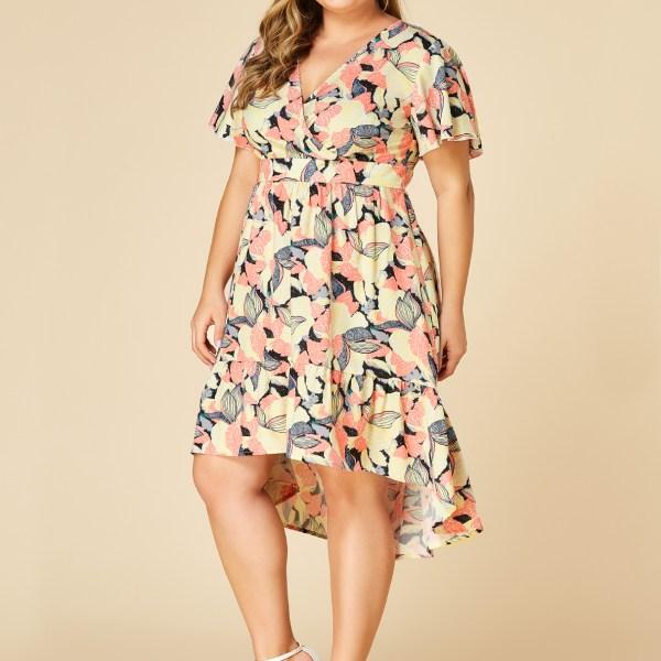 YOINS Plus Size Random Floral Crossed Front Design V-neck Dress 2