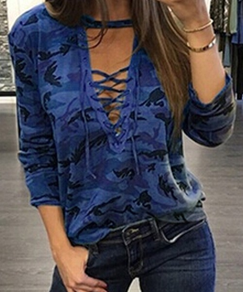 Blue Camouflage Lace-up T-shirt 2